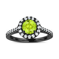 Vintage Style Peridot Engagement Ring Bridal Ring 14K Black Gold 1.54 Carat