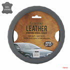 New Premium Gray Genuine Leather Universal Fit Car Truck Steering Wheel Cover