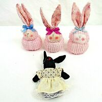 Chenille Easter Bunnies Rabbits Pink 1 Black Rabbit with Dress Plush Lot of 4