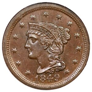1849 N-20 NGC MS 64 BN Braided Hair Large Cent Coin 1c