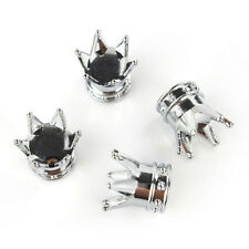 Universal Chrome Crown Style Car Tire Air Valve Stems Cover Caps Wheel Rims 4pcs