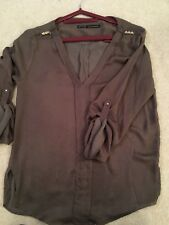 Zara Size  Tan Brown V-Neck  Blouse Long Sleeved EUR M