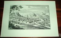 Jena alte Ansicht Merian Druck Stich 1650 Panorama Städteansicht Thüringen