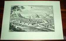 Jena alte Ansicht Merian Druck Stich 1650 Panorama