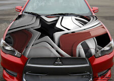 Abstract 3D Hood Full Color Graphics Wrap Decal Vinyl Sticker Fit any Car #117