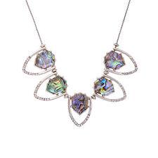 NEW Iridescent Abalone Teardrop Geometric Crystal Collar Necklace Silver Tone