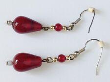 B.O percées pendante base couleur argent perles de verre poire rouge rubis 296