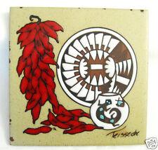 "6"" Southwest Art Tile Coaster Trivet Chili Peppers Bowl Plate Signed Teissedre"