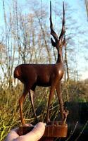 wunderschöne große Holzfigur Antilope Handgeschnitzt 34 cm Künstlerarbeit
