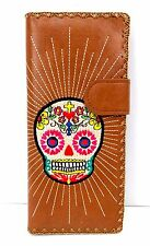 Sugar Skull Wallet Brown Day of the Dead Lavishy Vegan Leather Embroidered New