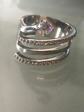 Ladies simulated diamond band ring solitaire wide stainless steel silver 3254