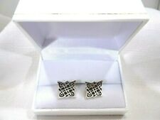 Men's Square Trinity Celtic knot Solid Sterling Silver Boxed Cufflinks
