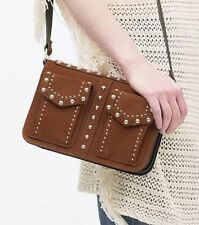 NWT ZARA SUEDE LEATHER STUDDED MESSENGER BAG/ PURSE - BROWN TAN