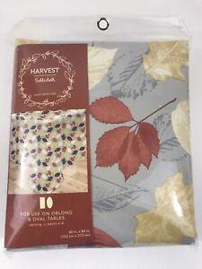 "Harvest Vinyl Tablecloth 60"" x 84"" Thanksgiving Oblong or Oval Carrick Leaves"