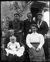 Antique 4x5 Glass Plate Negative Family Portrait (V4420)