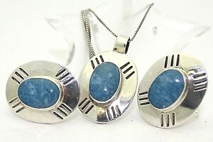 DENIM LAPIS PENDANT CHAIN AND EARRING SET REAL SOLID .925 STERLING SILVER 26.1 g