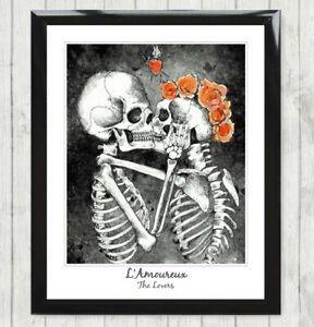 Framed Art Print L'Amoureux The Lovers Skull Skeleton Tarot Card Poster 137