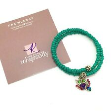 "Anne Kopik Swarovski Crystal Beaded Wrap Bracelet with Owl Charm ""Knowledge"""