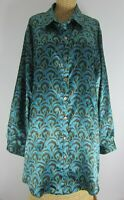 Soft Surroundings Womens Plus 2X Teal Blue Paisley LS Button Tunic Top Shirt 56""