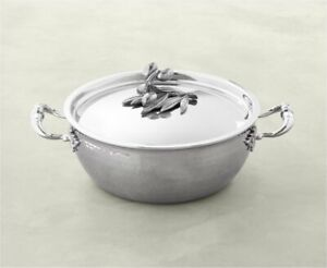 RUFFONI Opus Prima Hammered Stainless Steel Chef Pan with Olive Knob 4-Qt *NEW*