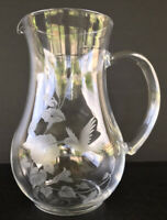 Vintage Avon Hummingbird Frosted Crystal Water Pitcher 8""