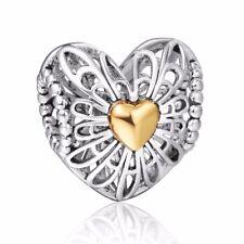 European Charms Openwork Heart Silver Bead Fit 925 Sterling Bracelets Bangle