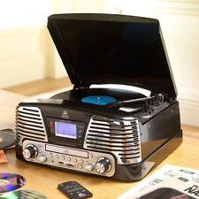 GPO MEMPHIS BLACK, 4 IN 1 VINYL TURNTABLE, CD PLAYER, MP3 PLAYER, FM RADIO