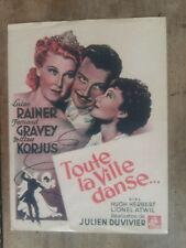 Plaquette TOUTE LA VILLE DANSE...Julien DUVIVIER Luise RAINER Fernand GRAVEY *