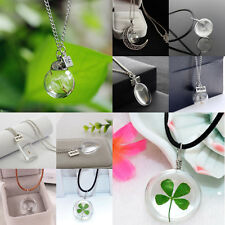 Ball Heart Glass Clover Dandelion Seed Moon Wish Necklace Pendant Charm Jewelry