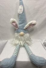 NEW Bunny Gnome Spring Decor Home Decor Shelf Sitter Plush Knit Blue