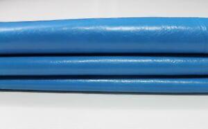 SHINY BLUE CRINKLE crinkled Italian Lambskin leather skins hides 16sqf #A4336