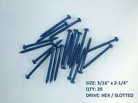 "3/16"" x 2-1/4"" CONCRETE MASONRY cement SCREWS screw anchors HEX slot head 20 pcs"