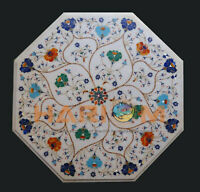 2' White Marble Top Coffee Table Multi Floral Marquetry Inlay Garden Decors W414