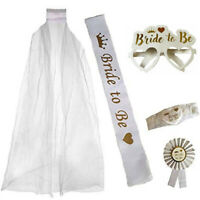 BRIDE TO BE GLASSES VEIL GARTER SASH ROSETTE HEN PARTY NIGHT DO TEAM BRIDE KIT