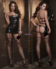 Womens Sexy Lingerie PVC Faux Leather Mini Dress Bodycon Gothic Fetish G-string