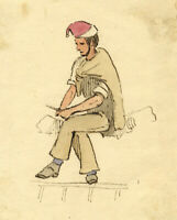 David Mocatta, Man in Red Cap – Original early 19th-century watercolour painting