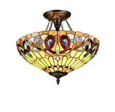 Chloe Lighting Tiffany Style 2 Light Semi Flush Ceiling Lamp CH33353VR16-UF2