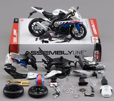 1:12 BMW S1000RR Assembly DIY Motorcycle Bike Model Blue White New