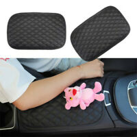 Car Leather Armrest Pad Cover Center Console Box Cushion Mat Protector Black