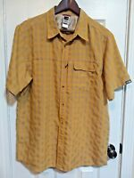 The North Face Mens Sz L Shirt Yellow Gray Plaid Short Sleeve Button Front