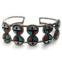 Vintage Zuni Sterling Silver Multi-Stone Sunface Inlay Bracelet - Signed