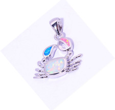 Woman Fashion 925 Silver Jewelry Crab Fire Opal Charm Pendant Necklace Chain HOT