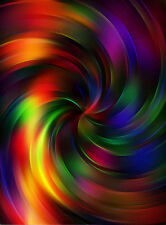 Painting Digital Psychedelic Colour Swirl Poster Wall Art Print Picture Lf2919