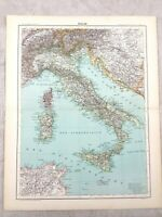 1894 Antique Map of Italy Sicily Sardinia Corsica Original 19th Century French