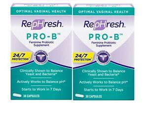 RepHresh Pro-B Probiotic Supplement for Women, 30 Capsules (Pack of 2)