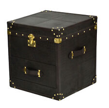 Beautiful Black Croco Leather Designer Multipurpose 1 Drawer with trunk Bedside