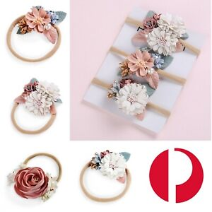 NEW Floral Baby Headband Bow Christening Wedding Girl Flower Pink Hair Accessory