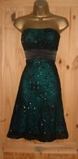 Jane Norman black turquoise strapless sparkly evening party prom dress sz 10 12