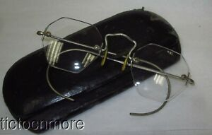 ANTIQUE ART DECO WHITE GOLD FILLED WIRELESS EYE GLASSES OCTAGON W/ CASE