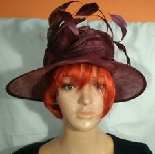 John Lewis Natural Fibre (Reed) weaved Fucshia Hat with multi feather fascinator